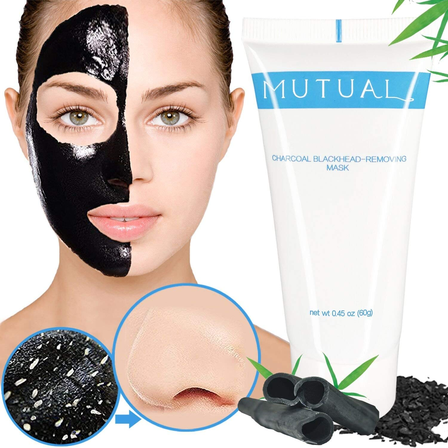 Get Quotations · Blackhead Remover Mask, Blackhead Mask, Natural Bamboo Charcoal Peel Off Mask, Purifying Deep