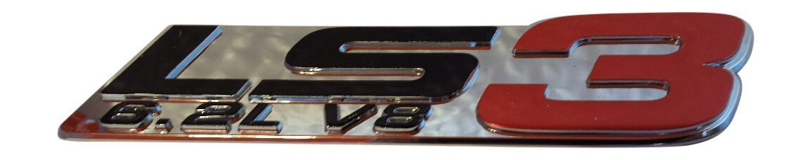 Buy Muzzys- 3D LS3 6 2L V8 Red Chrome Fender Emblem Badge