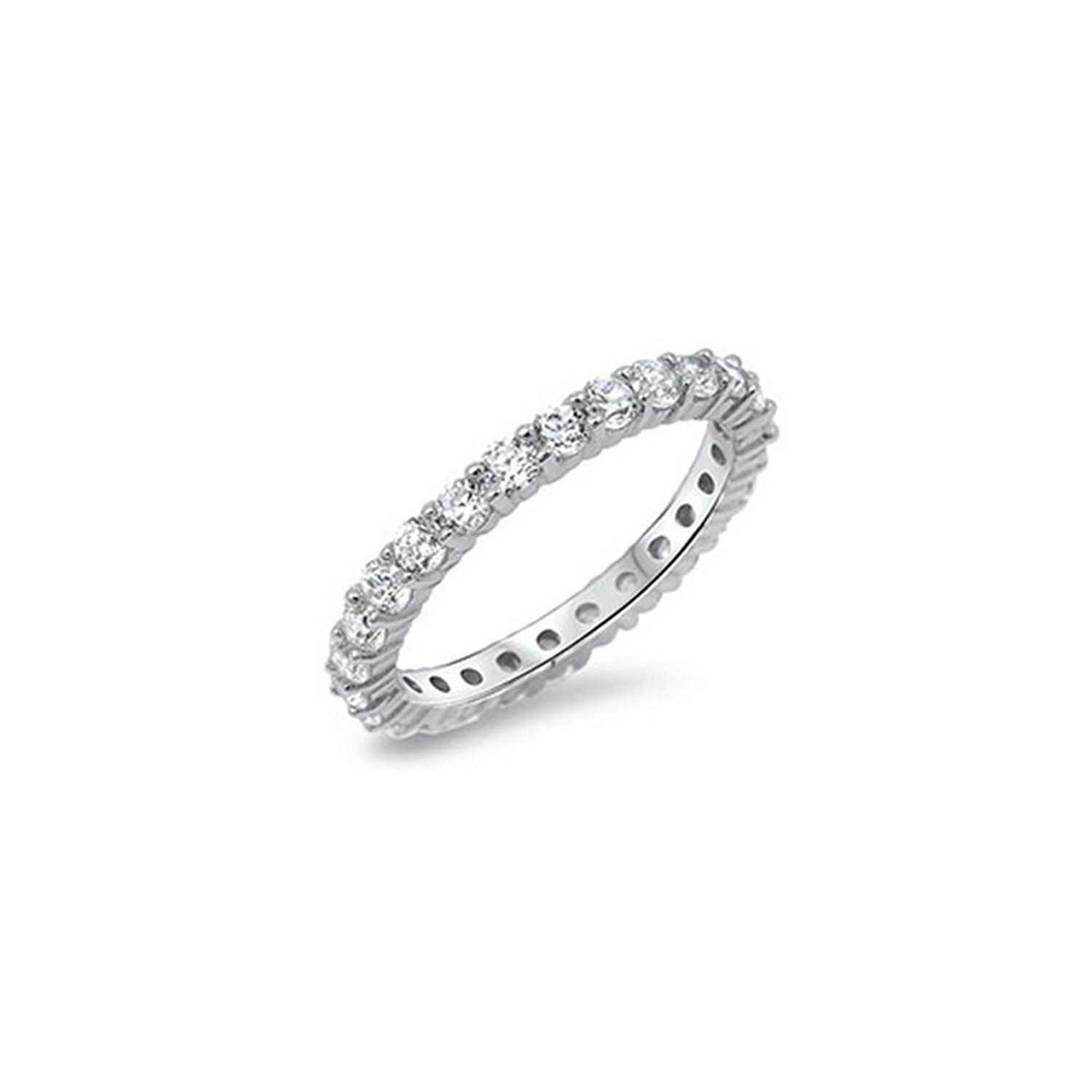 Noureda Sterling silver Classy Round Cut Clear Czs Stackable Band Ring with Band Width of 3MM