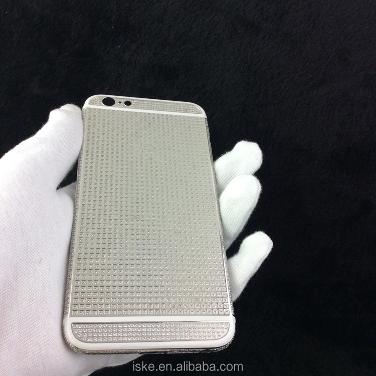 Custom full diamond rear housing for iphone 6 6 plus housing platinum plated