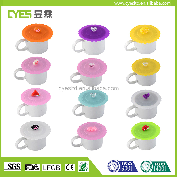 Cute Colorful Durable Unbreakable Silicone Cup Cover Coffee cup mug Lid