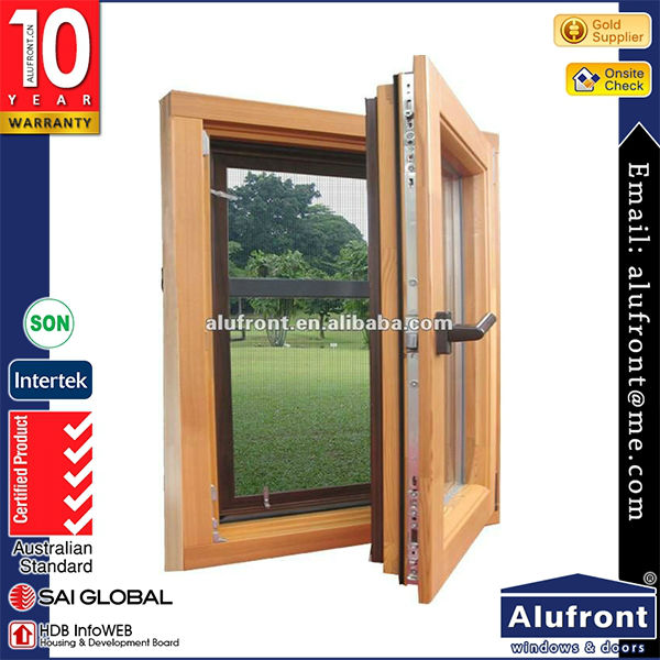 high quality aluminium wood composite glass swing window
