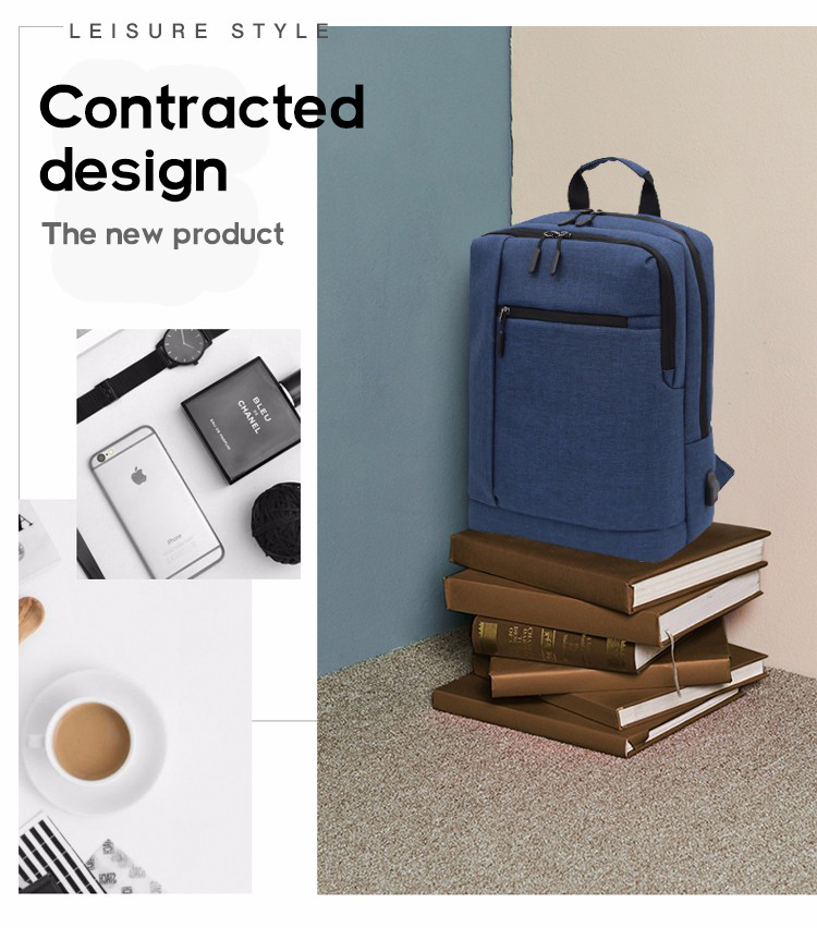 Hot sale laptop backpacks with USB port and accept printing in the finished products