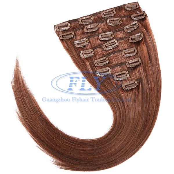 Buy Straiht Clip Hair Extensions 33 Dark Auburn 18inch 24inch Human