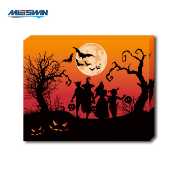 halloween theme led lighting art painting on canvas for home