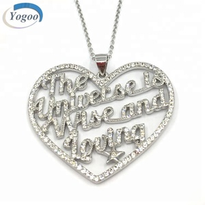 Attractive 925 Silver Zircon Heart Pendant Necklace Custom Charms Pendant with Logo