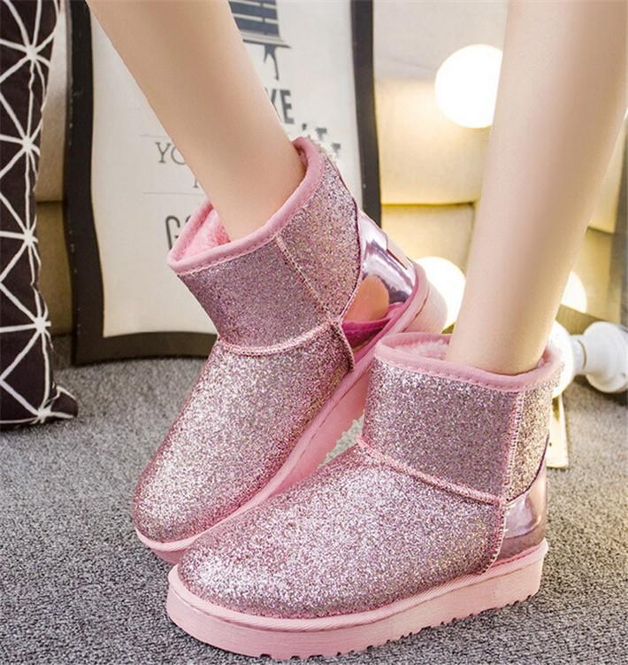 791d07f3c922f Kilimall: Glitter Snow Boots Women Thick Fur Warm Flat Platform ...