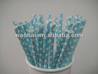 New Pattern Pastel Blue small polka dots decorative paper drinking straws