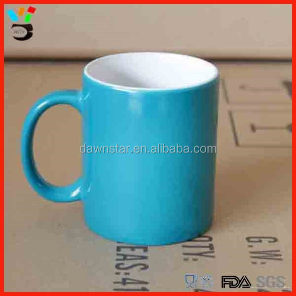 Mug supplier solid custom design 310ml multicolored ceramic tea mug with handle