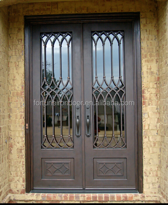 2016 Main Entry Entrance iron door/square top wrought iron entry door with glass window/Victorian cast iron gates