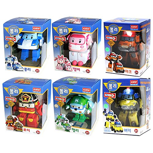 [6 Pcs SET] Academy Robocar Poli Transformer Robot Toy (Poli + Roy + Amber + Helly + Mark + Bucky)