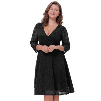 Hanna Nikole Womens Plus Size Three Quarter Length Sleeve V-neck Black Lace  Summer Dress Hn0022-1 - Buy Plus Size Long Sleeve Lace Dress,Three Quarter  ...