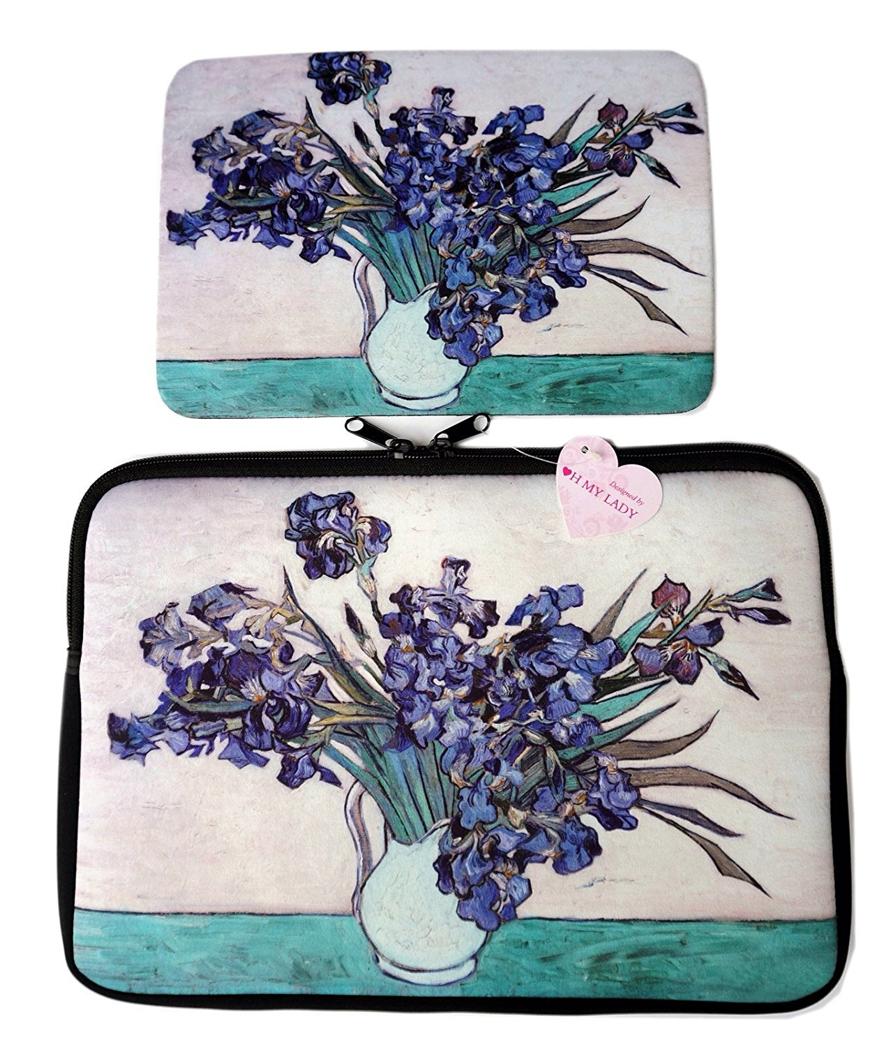"""Oh My Lady* 11-11.6"""" inch Van Gogh's Masterpiece (Irises) Oil Painting Neoprene Laptop Case/Sleeve/Bag/Pouch/Cover – Available in 7 Patterns"""