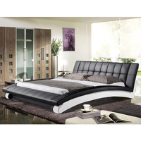 modern king /queen size black and white top full leather bed china foshan cheap artificial leather furniture