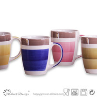 hand painting two color ceramic milk mug