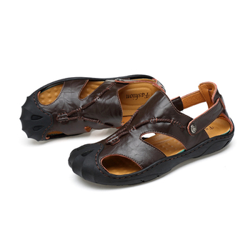 0d58ee182f38 Genuine Leather Sole Flip Flops Men Slip-Resistant Casual Hiking Sandals