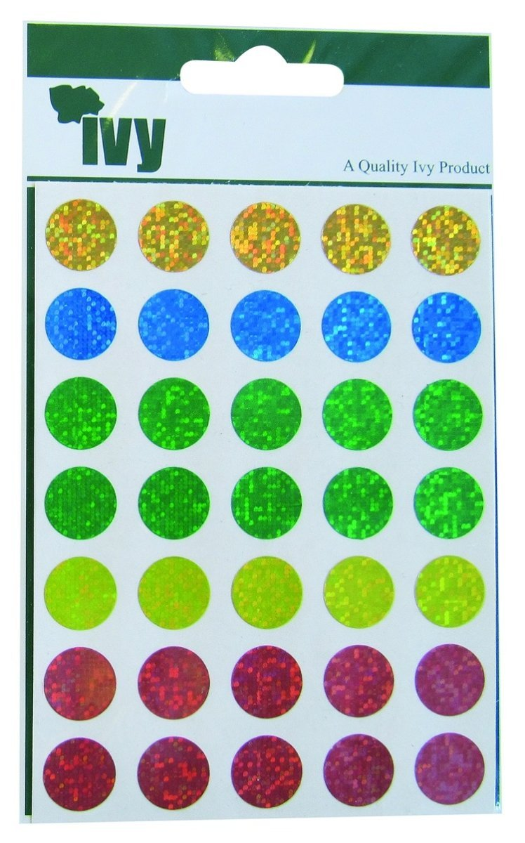 Ivy 13mm Holographic Self Adhesive Round Dot Spot Sticky Labels Circle Stickers (70 Stickers) by Ivy
