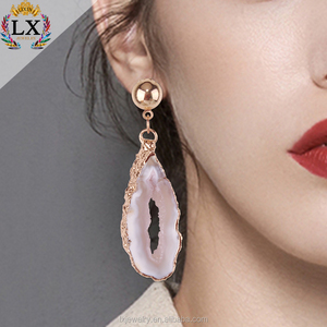 ELX-00920latest wholesale nature irregular agate plate stone earings druzy rough stone earrings earring drop