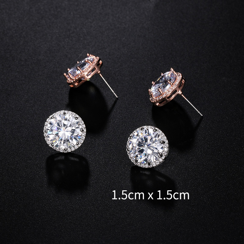 New Arrival 15MM Large Round Cut Cubic Zirconia CZ Crystal Sparkling Stud Earrings for Women, N/a