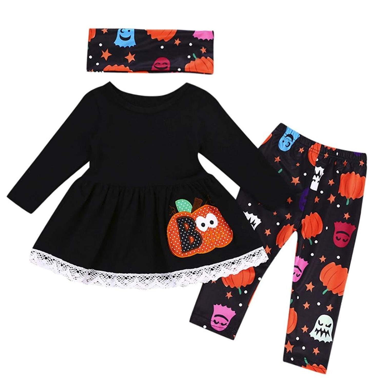 e24e5aac Get Quotations · First Halloween Baby Girl Winter Clothes Pumpkin Tops+Pants  Kids Costumes Outfit Headbands