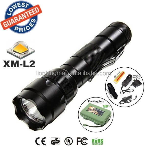 USA EU Hot Classic WF-502B 1/3/5Mode <strong>Cree</strong> XM-L2 LED tactical hunting police Flashlights Torches lamp with 18650 battery charger