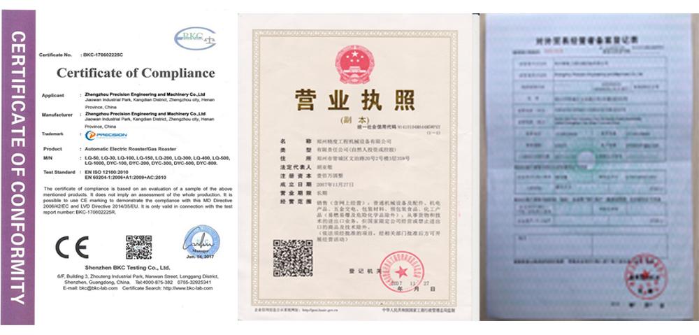 Coffee roaster certificate