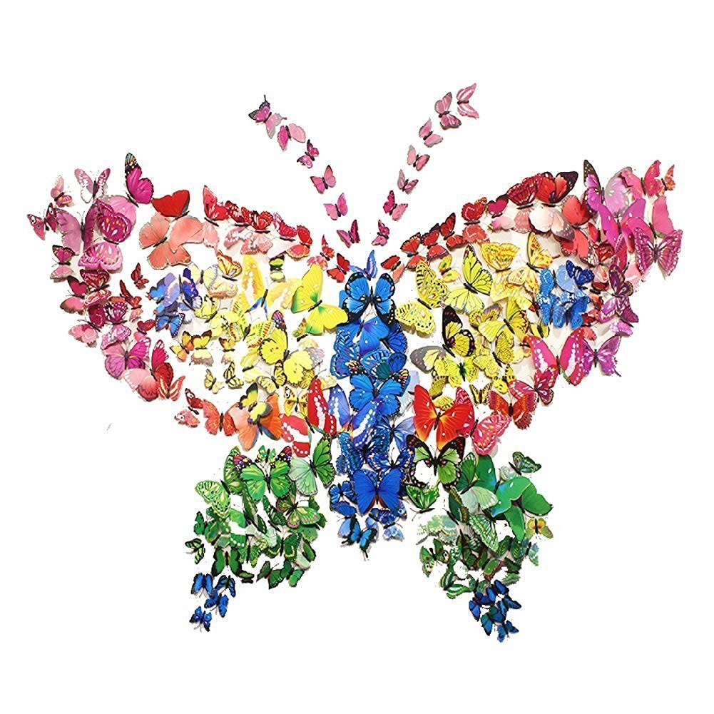 Amaonm® 72 PCS 6 Colors Removable 3D Butterfly Wall Decals Nursery Room Decorations Wall Decor 3D Butterflies Wall Stickers TV Background Girls Room Bedroom Decorative Art Decal