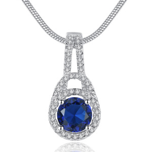 Big Rhinestone Sapphire Necklace Round Cut Blue Zircon CZ Micro Pave Pendant With Snake Chain