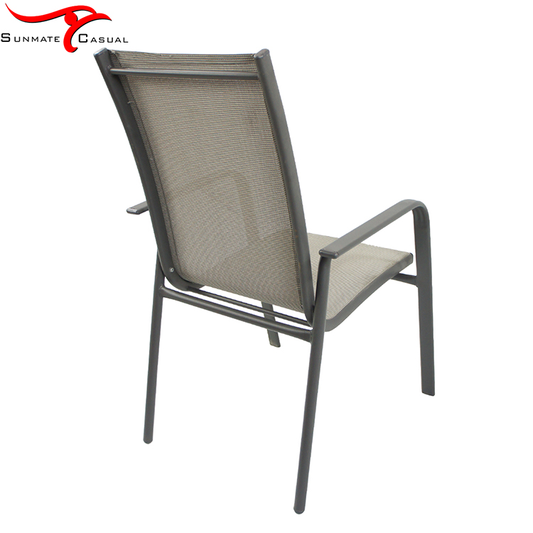 Patio Garden Furniture Outdoor High Back Steel Frame Armrest Textilener Fabric Stacking Sling Dining Chair