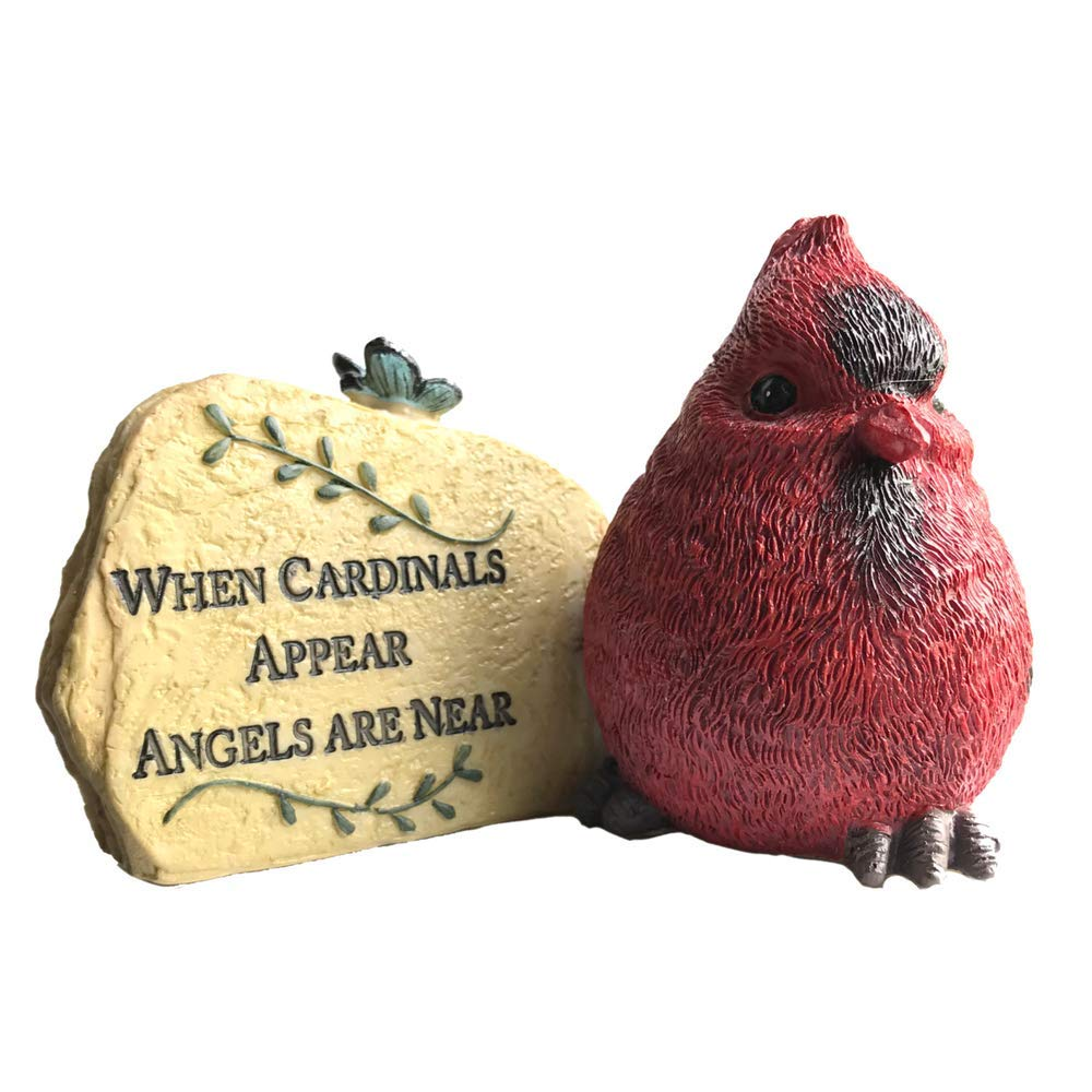 BANBERRY DESIGNS Cardinal Desk Rock - When Cardinals Appear Angels are Near - Memorial Sentiment with Red Cardinal Design - in Loving Memory of a Loved One