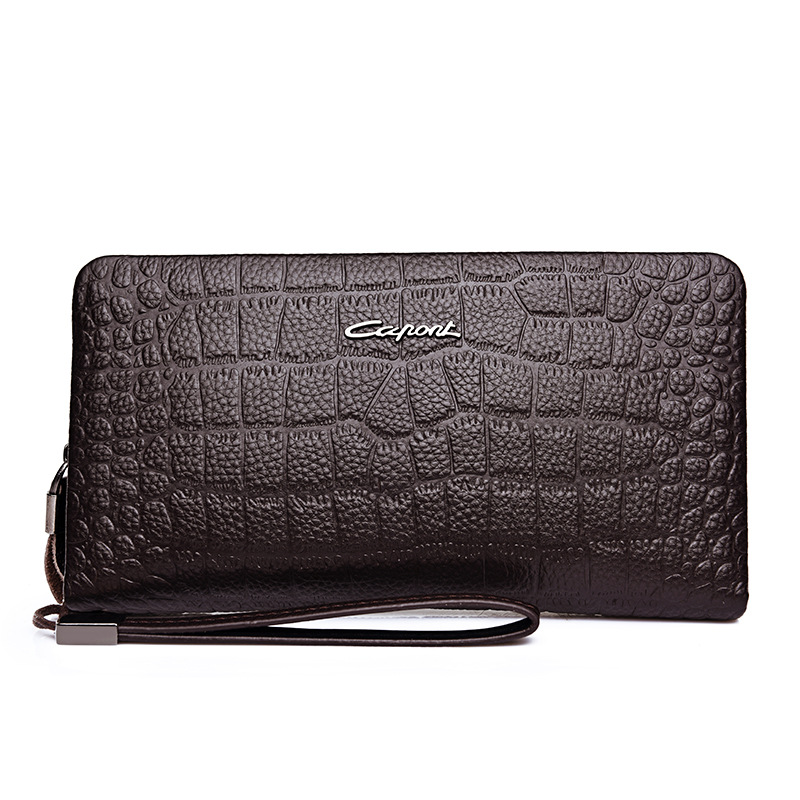 New arrival <strong>genuine</strong> cow <strong>leather</strong> male business casual crocodile pattern handbag big capacity clutch <strong>bag</strong> for men