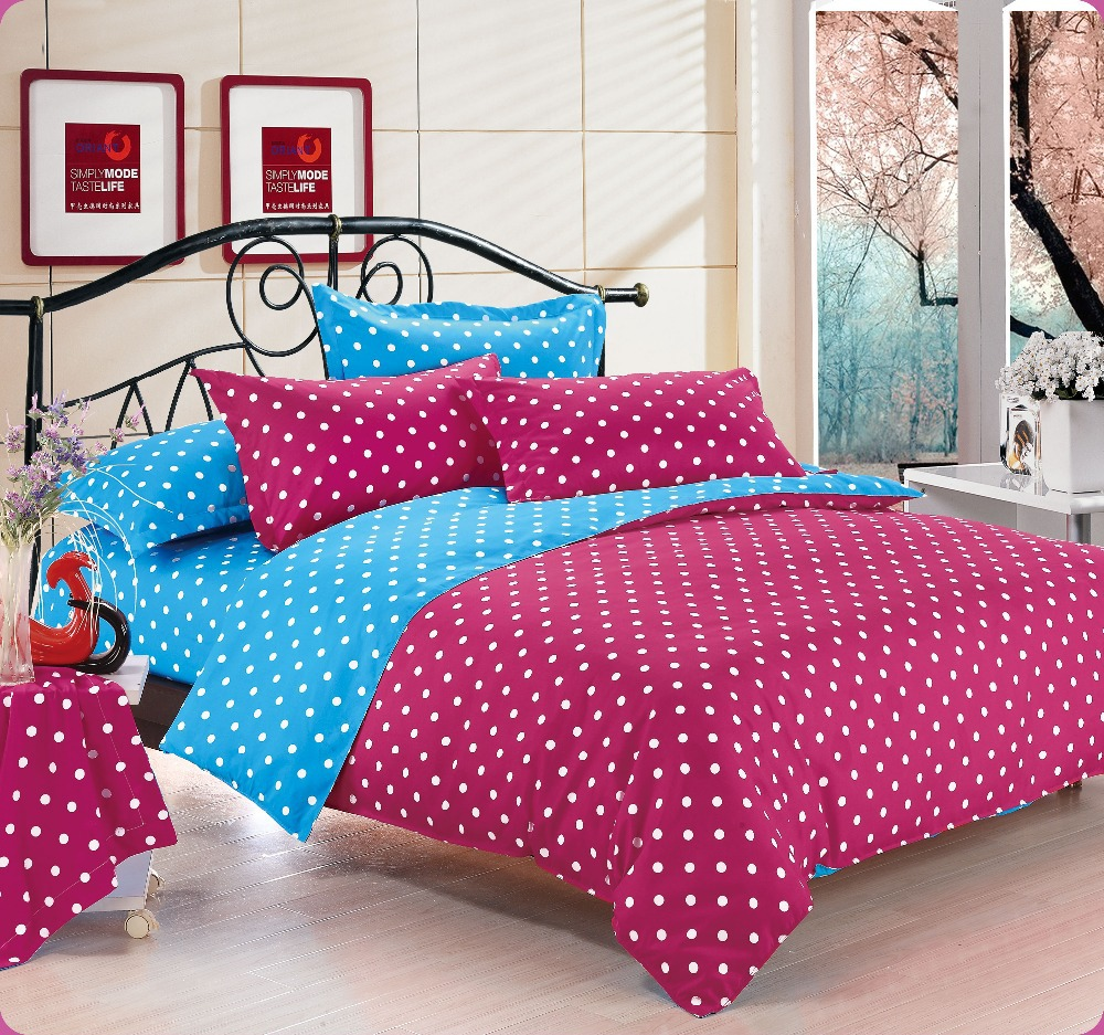 home textiles red blue polka dot bedding sets include comforter cover bed sheet pillowcase. Black Bedroom Furniture Sets. Home Design Ideas