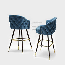 Latest Nordic Design Velvet titanium gold Steel High Bar Chair