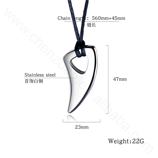 Hot selling 2019 Fashion mens 316L stainless steel ox horn pendant necklace punk jewelry