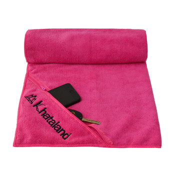 microfiber gym towel/microfiber sports towel with pocket/Super Sweat Absorbent Microfiber Gym Towel With Zip Pocket