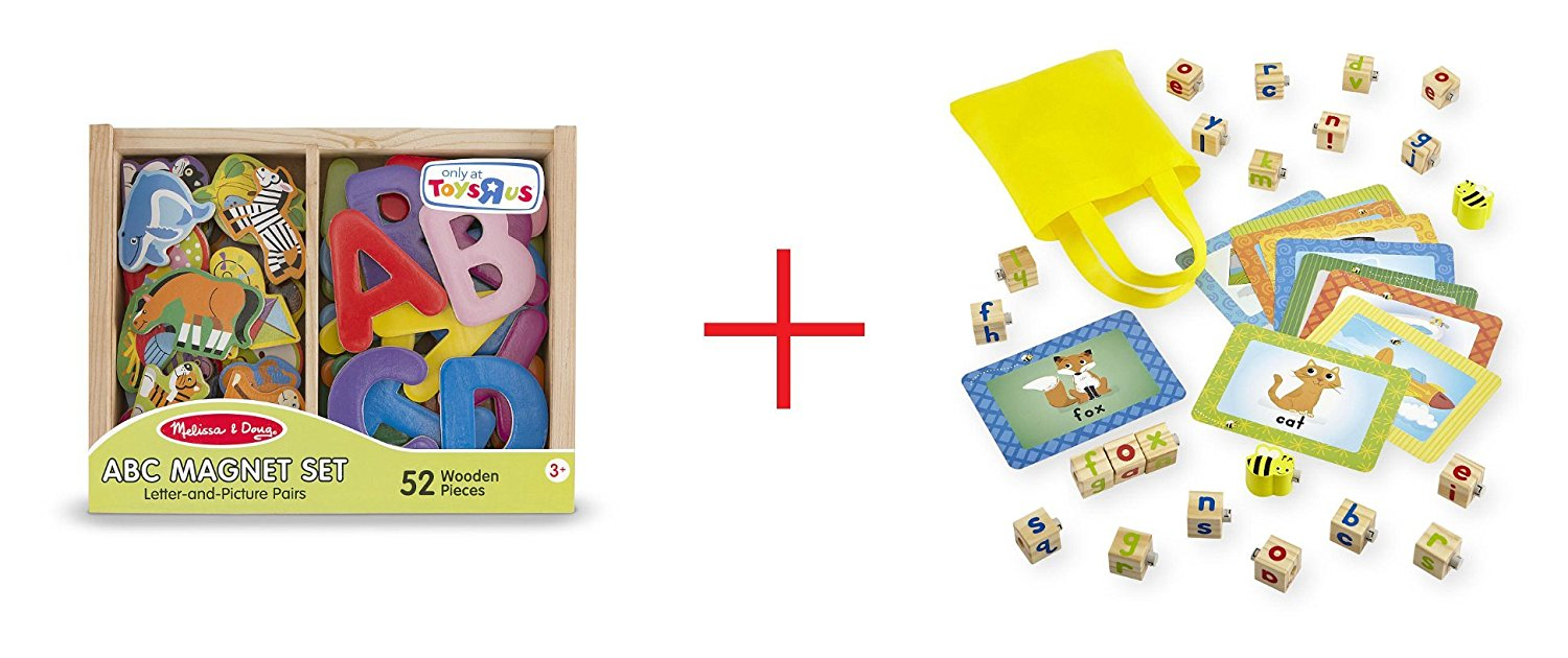 Melissa & Doug ABC and Animal Magnet Set and Imaginarium Spinning Bee Spelling Blocks - Bundle