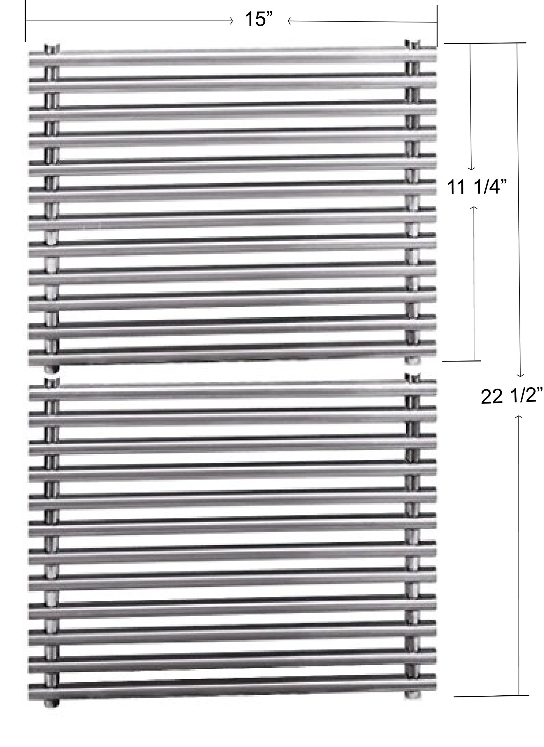 """Grill Valueparts REV521SM Replacement Stainless Steel Cooking Grid / Cooking Grate For Select Weber Grill Models, Set of 2, (Dims: 15"""" D X 11 1/4"""" W For each unit, 15"""" D X 22 1/2"""" W For 2 units)"""