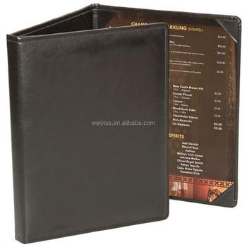 best selling 3 fold restaurant leather menu cover dessert real
