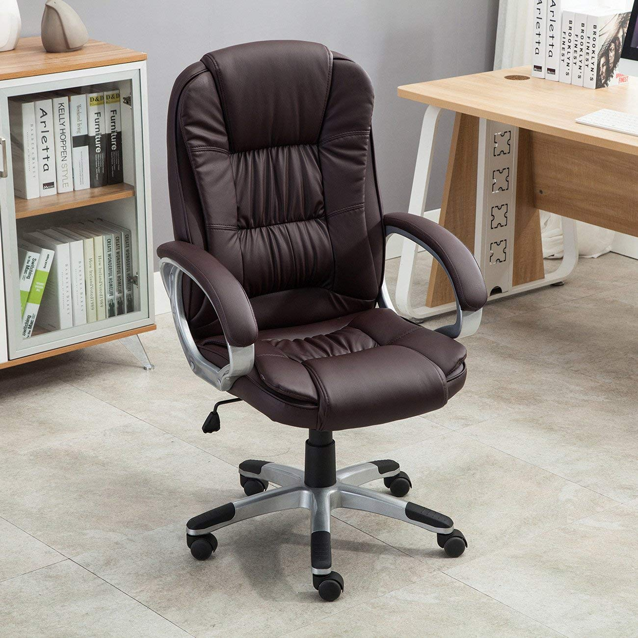 High Back Executive Adjustable Leather Ergonomic Desk Office Chair, Ergonomic Design Soft PU Leather Upholstery is Highly Comfortable with Ample Padding, Ideal for Personalized Comfort