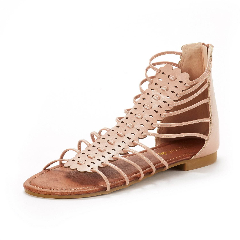 3d2d1f55b8e DREAM PAIRS Women s Roman 01 Fashion Gladiator Design Ankle Strap Flat  Sandals