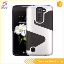 Anti-scratch fancy S shape tpu pc free sample phone cover for LG Tribute 5/K7