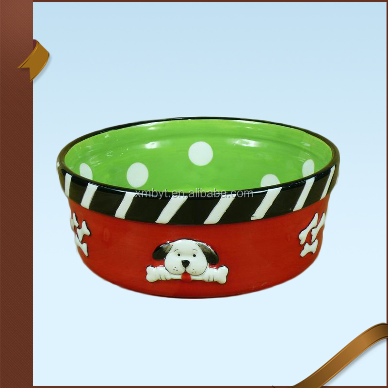 Red Green Pet Dog Bowl Ceramic Pet Bowl Pet Accessories Wholesale
