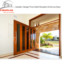 FD0031-Made In China Latest Modern Design Exterior Villas Main Entrance Front Big Center Pivot Swing Solid Wooden Doors