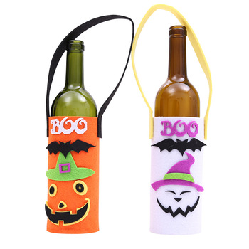 Halloween champagne wine bottle holder bar KTV cartoon pumpkin felt Halloween bottle portable bag