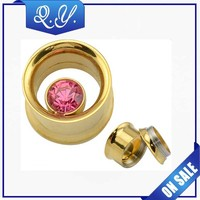 fashion imitation jewelry made in china wholesale,New design 14K gold plated body jewelry ear tunnel piercing
