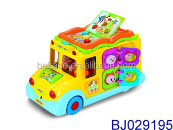 Activity Musical Yellow School Bus Toy with Headlights with Passengers Swing side to side