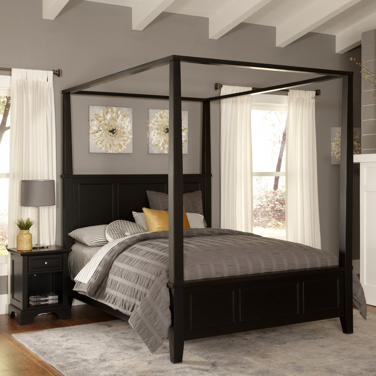Home Styles Bedford Black King Canopy Bed and Night Stand