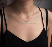 cheap pendant triangle necklace for woman silver gold plated wholesale