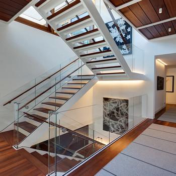 Modern Design Steel Beam Stringer Solid Wood Stairs Tread