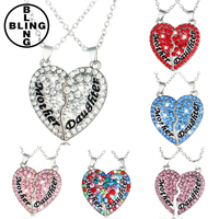 >>>Mom and daughter heart necklace, diamond necklace, splicing pendant